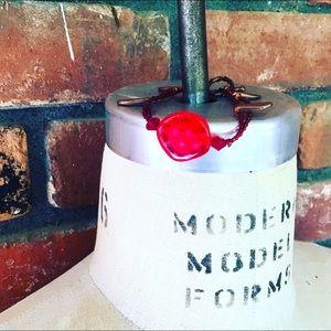 Red Copper Polka Dot Handmade Bracelet